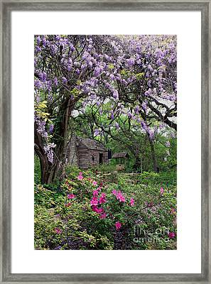 Log Cabin Framed Print by Gayle Johnson