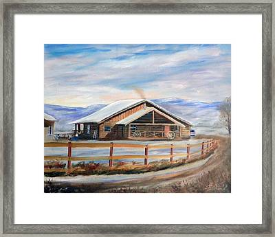 Log Cabin House In Winter Framed Print