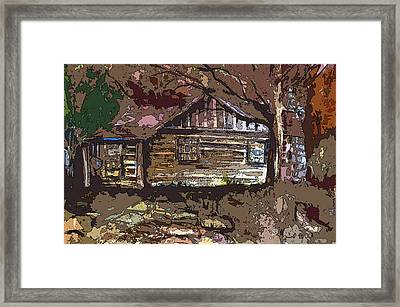 Log Cabin In Autumn Framed Print by Mindy Newman