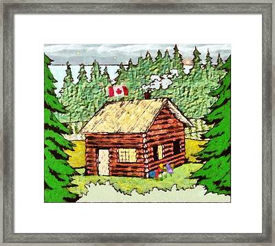 Log Cabin In The Canadian Woods Framed Print by Mario Carini