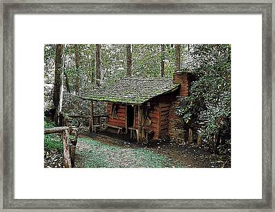 Log Cabin In The Woods Framed Print by James Fowler