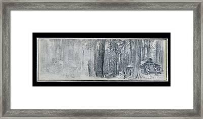 Log Cabin In Woods Framed Print
