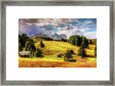 Log Cabin Landscape By Sarah Kirk Framed Print
