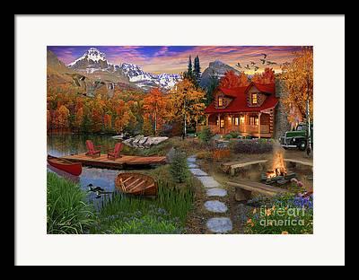 Log Cabins Digital Art Framed Prints