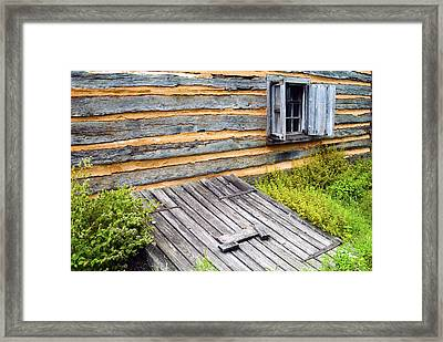 Log Cabin Storm Cellar Door Framed Print by Paul W Faust -  Impressions of Light