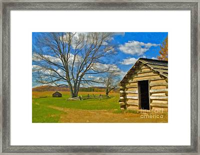 Framed Print featuring the photograph Log Cabin Valley Forge Pa by David Zanzinger