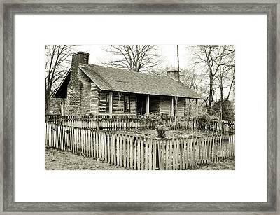 Log Cabin With Garden Framed Print by Wendy Walker