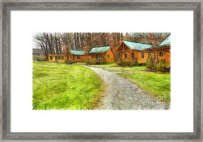 Log Cabins Pencil Framed Print by Edward Fielding