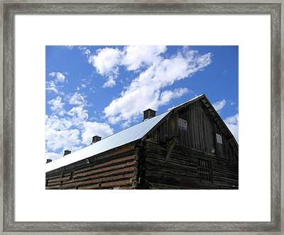 Log Clydesdale Barn Framed Print by Will Borden