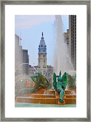Logan Circle Fountain With City Hall In Backround 3 Framed Print