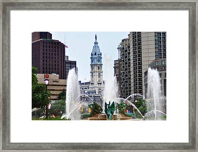 Logan Circle Fountain With City Hall In Backround Framed Print by Bill Cannon