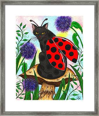 Framed Print featuring the painting Logan Ladybug Fairy Cat by Carrie Hawks