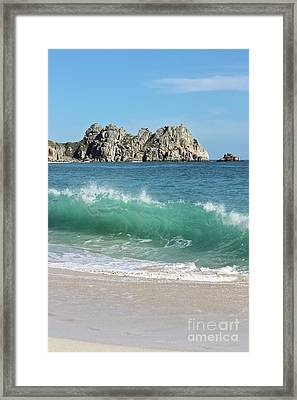 Framed Print featuring the photograph Logan Rock Porthcurno Cornwall by Terri Waters