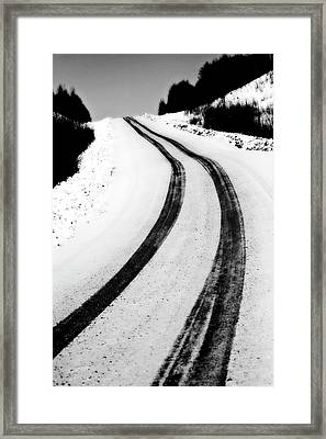 Logging Road In Winter Framed Print by Mark Duffy