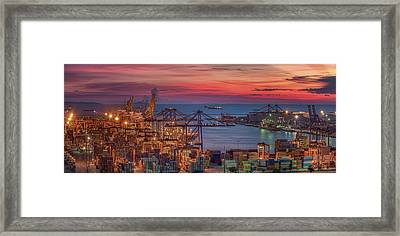Logistic Port With Cargo Ship  Framed Print