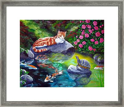 Loki Meets A Turtle Framed Print by Laura Iverson