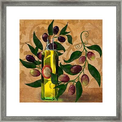 l'Olivo d'Oliva, Olives, Italian food Olive Oil kitchen art Framed Print by Tina Lavoie