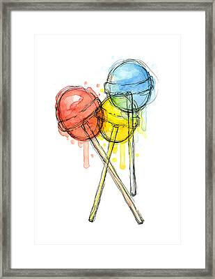 Lollipop Candy Watercolor Framed Print