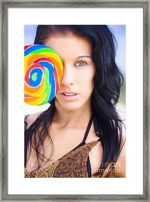 Lollipop Flirt Framed Print