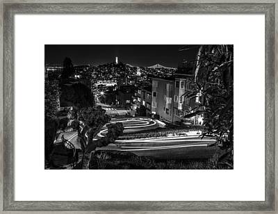 Lombard Street Streaking Black And White  Framed Print by John McGraw
