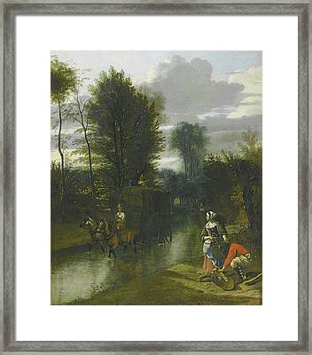 London A Landscape With A Haycart Crossing A Stream Framed Print by MotionAge Designs