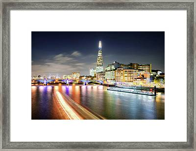 London At Night With Urban Architecture, Amazing Skyscraper And Boat At Thames River, United Kingdom Framed Print