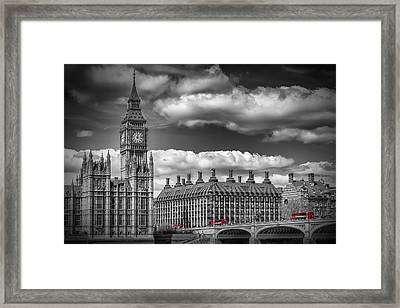 London Big Ben And Red Bus Framed Print