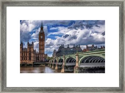 Framed Print featuring the painting London Big Ben by David Dehner