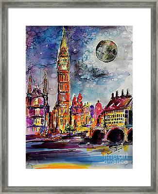 London Big Ben Tower Moon Sky Framed Print
