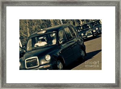 London Black Taxi Cabs Framed Print