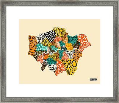 London Boroughs Map Typography Framed Print by Jazzberry Blue