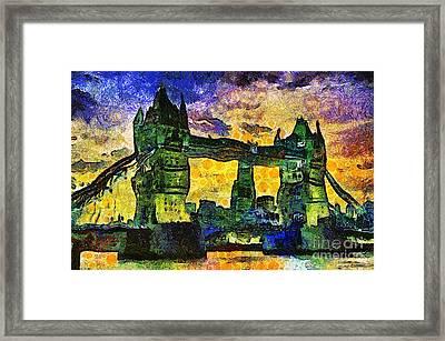Framed Print featuring the digital art London Bridge by Ian Mitchell