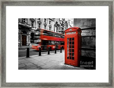 London Bus And Telephone Box In Red Framed Print