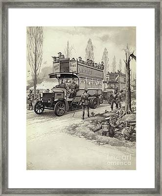 London Buses Used To Take Troops To The Front During Wwi Framed Print