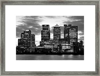 London Canary Wharf Monochrome Framed Print by Marek Stepan