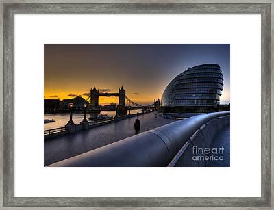 London City Hall Sunrise Framed Print by Donald Davis