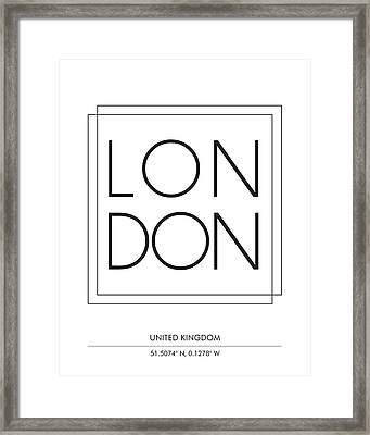 London City Print With Coordinates Framed Print