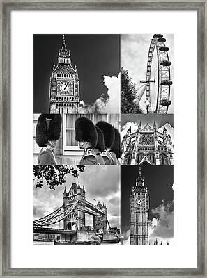 London Collage Bw Framed Print