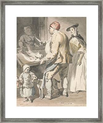 London Cries - A Fishmonger Framed Print by Paul Sandby