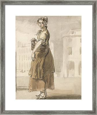 London Cries - A Girl With A Basket Of Oranges Framed Print by Paul Sandby