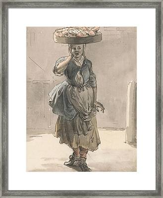 London Cries - A Girl With A Basket On Her Head Framed Print by Paul Sandby