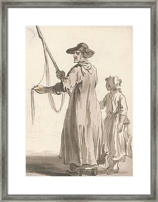 London Cries - A Lace Seller Framed Print by Paul Sandby