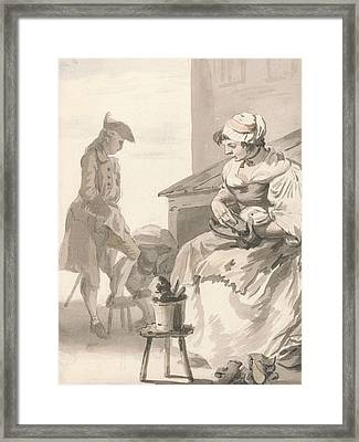 London Cries - Shoe Cleaner Framed Print by Paul Sandby