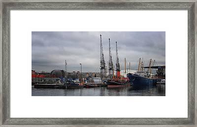 London Docks Framed Print by Martin Newman