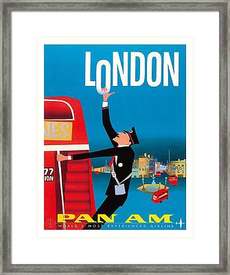 London Double Decker Buse Pan American Vintage Travel Poster Framed Print