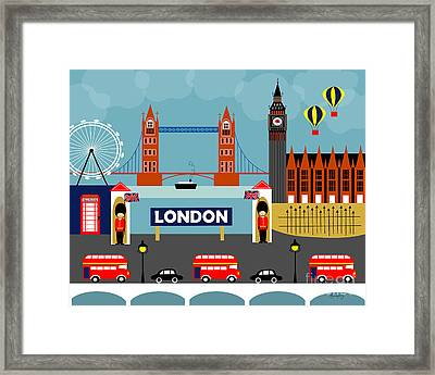 London England Horizontal Scene - Collage Framed Print
