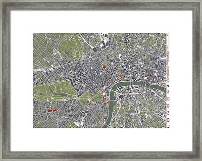 London Engraving Map Framed Print by Jasone Ayerbe- Javier R Recco