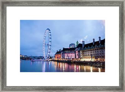 London Eye At Night Framed Print by Donald Davis