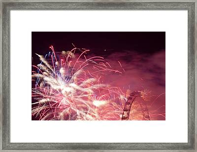 London Eye On Fire Framed Print by Monika Tymanowska
