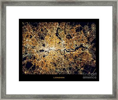 Framed Print featuring the photograph London From Space by Delphimages Photo Creations